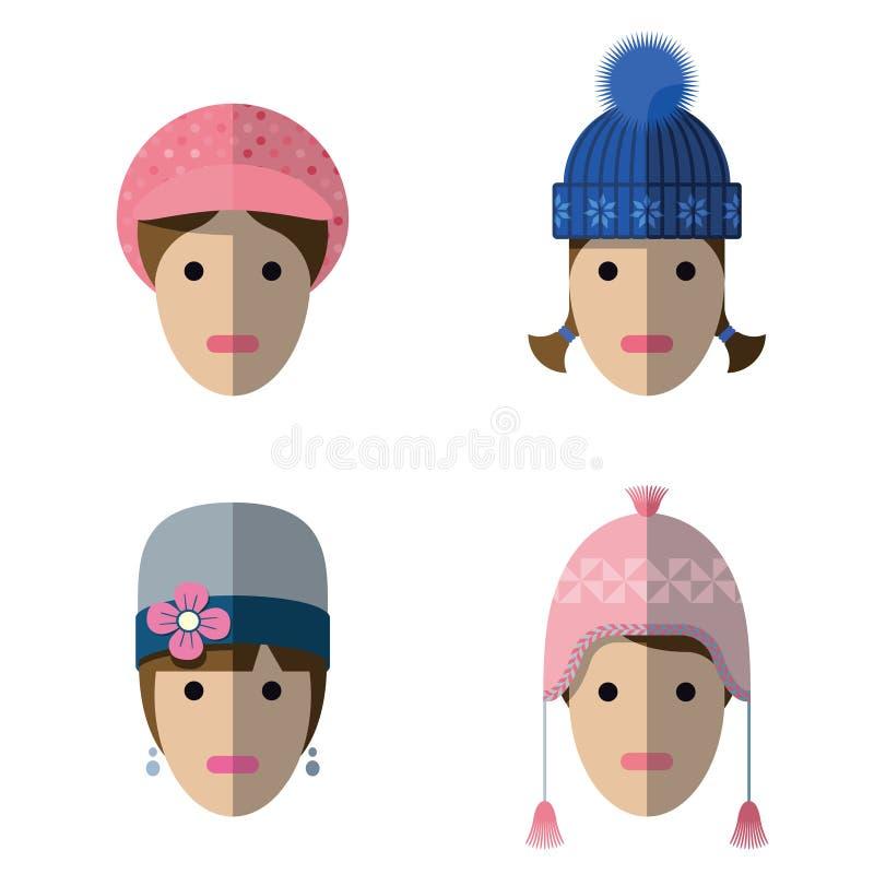 Kobiet ikony z wełna kapeluszami ilustracja wektor