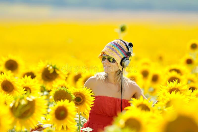 kobiet kwitnący śródpolni słonecznikowi potomstwa obrazy stock