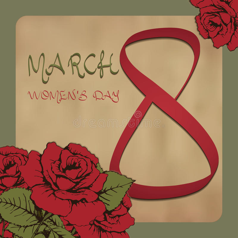 8 kobiet Marcowy dzień Kartka z pozdrowieniami w rocznika stylu, zaproszenie, sztandar Czerwonych róż kwiatu tło starzejąca się p ilustracja wektor