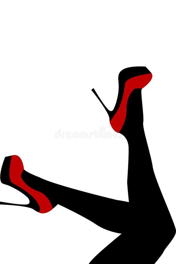 Kobiet nogi jest ubranym czerwień buty z szpilkami ilustracja wektor