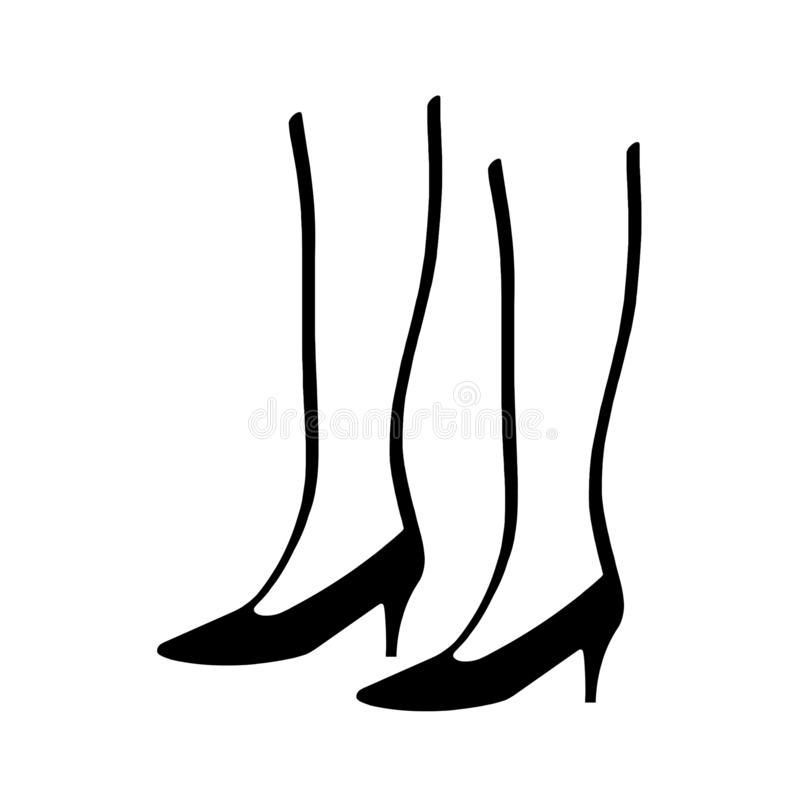 Kobiet nogi jest ubranym szpilki czarny i biały ilustrację royalty ilustracja