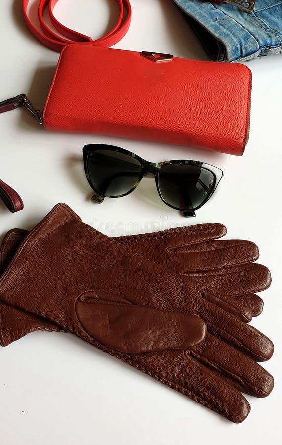 Kobiet odzieżowych akcesoriów Rzemienne rękawiczki zielenieją czarnego sunglass kiesy czerwonego portfla Błękitnych Białych cajgi zdjęcia stock