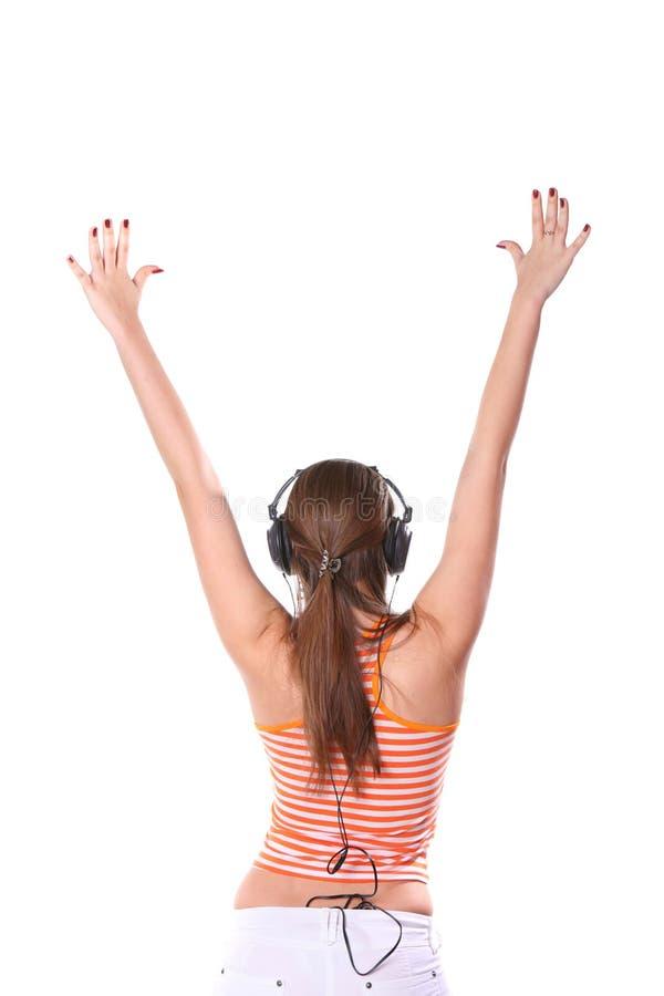 kobiet potomstwa słuchająca muzyka obrazy stock