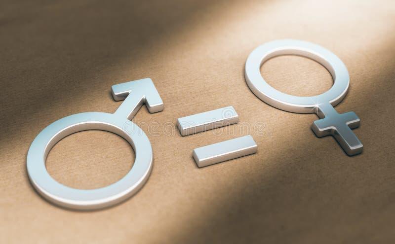 Kobiet prawicy lub równouprawnienie płci, Plciowy ilustracji