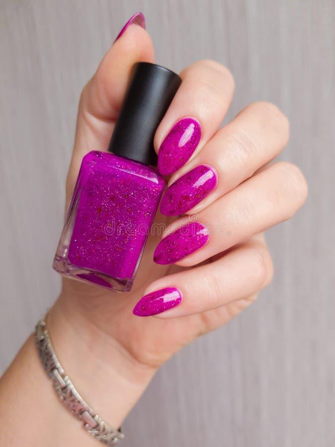 Kobiet ręki z długimi gwoździami z purpurowym gwoździa połyskiem obraz royalty free