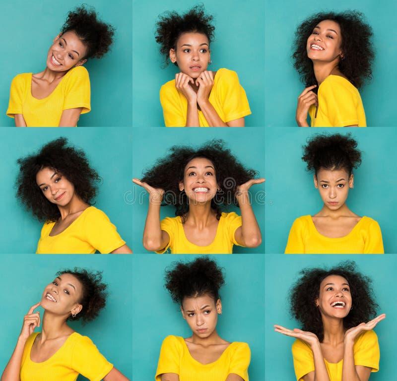 Kobiet różne emocje ustawiać obrazy royalty free
