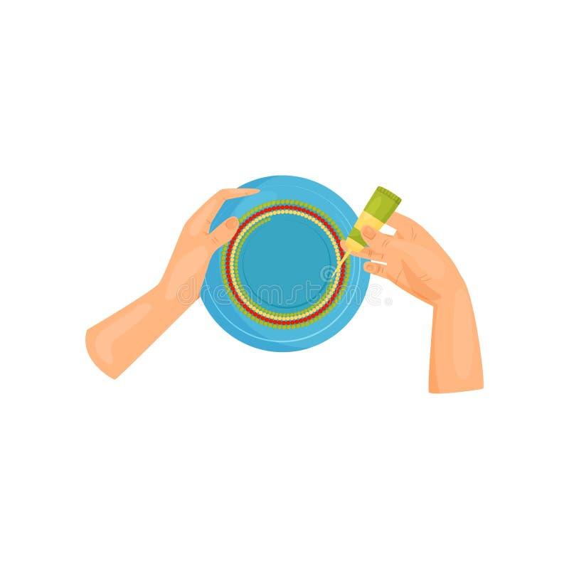 Kobiet ręki dekorują błękitnego ceramicznego talerza Hobby i rękodzieła temat Płaski wektorowy projekt ilustracja wektor