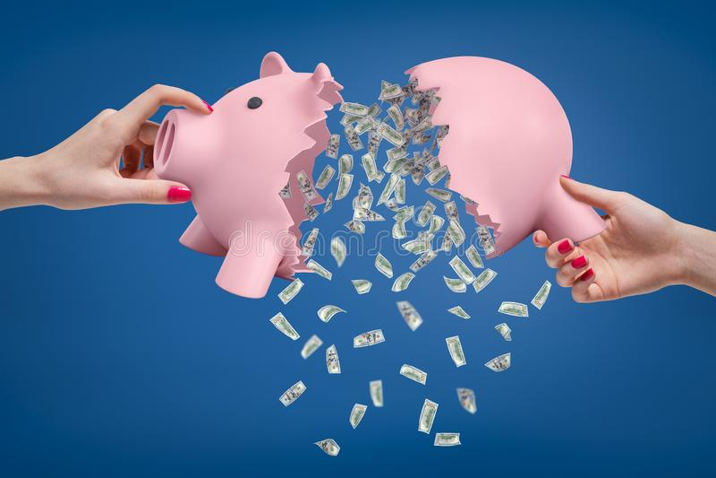 Kobiet ręki trzyma dwa części łamany prosiątko bank z rozsypiskiem pieniądze spada puszek z go zdjęcie royalty free