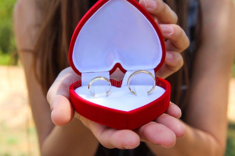 Kobiet ręki z aksamitną czerwienią boksują z parą złociste obrączki ślubne zdjęcia stock