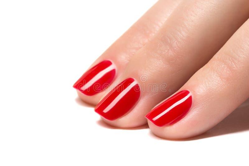 Kobiet ręki z robiącą manikiur czerwienią przybijają zbliżenie. fotografia royalty free