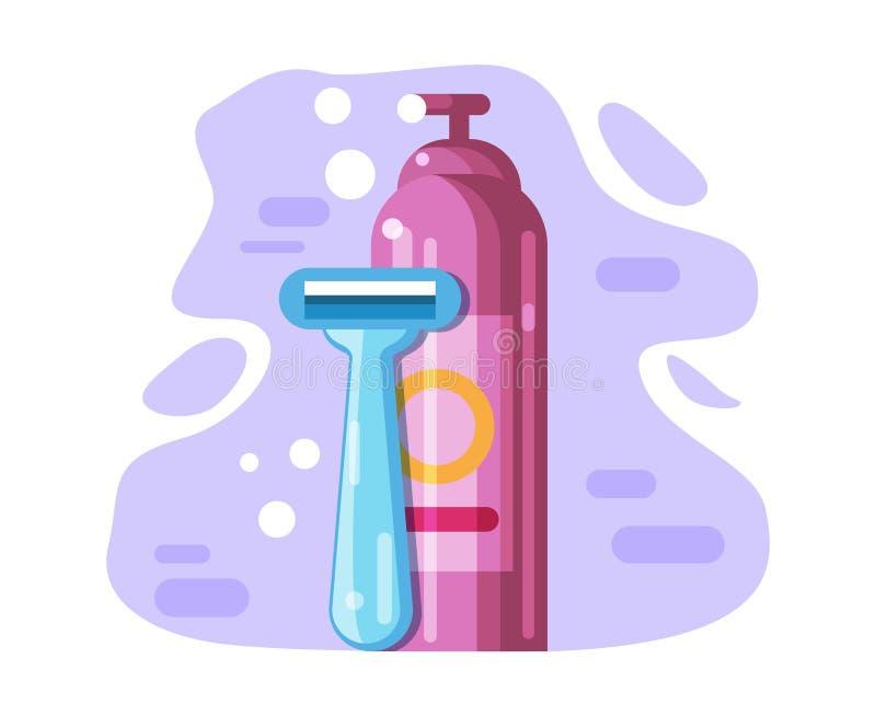 Kobiet s ?yletka i golenie produkt, w?osiany zmywacz ilustracji