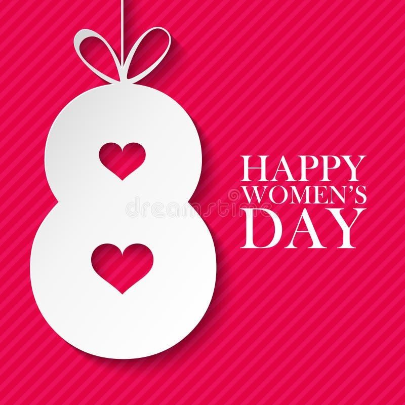 8 kobiet ` s dnia świętowania Marcowa międzynarodowa szczęśliwa karta ilustracji