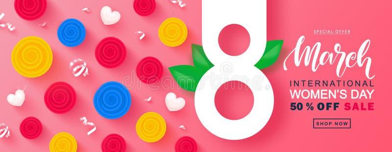 8 kobiet ` s dnia sprzedaży Marcowy Szczęśliwy sztandar Piękny tło z kolorowymi różami, sercami i serpentyną, wektor royalty ilustracja