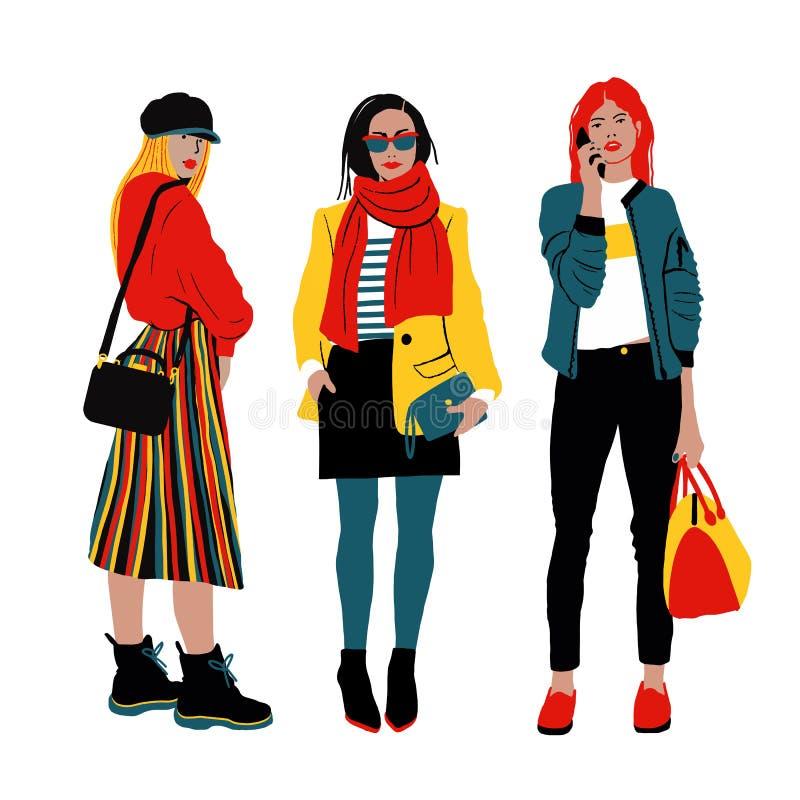 Kobiet s wiosny ulicy styl Szczegółowi żeńscy charaktery ilustracja wektor