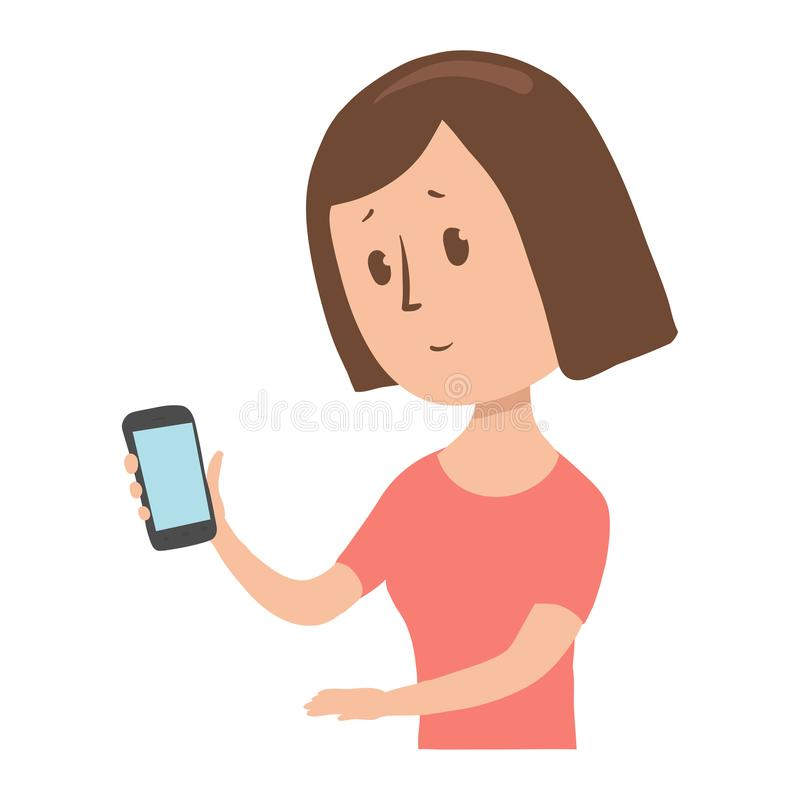 Kobiet spojrzenia przy jej telefonem w niespodziance Zmieszana dama z smartphone w jej ręce Postać z kreskówki wektoru ilustracja ilustracji