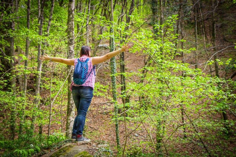 Kobiet spojrzenia przy widokiem od porady głaz w górach zdjęcia stock