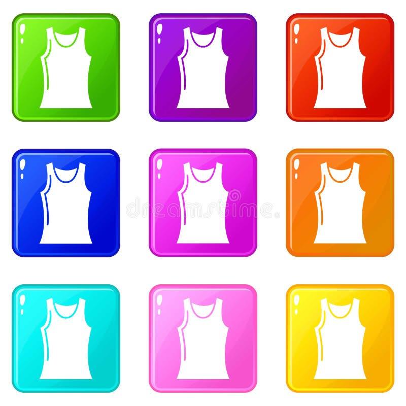 Kobiet t koszulowe ikony ustawiają 9 kolorów kolekcję royalty ilustracja