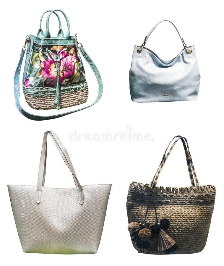 Kobiet torby na białym tle odizolowywającym zdjęcia royalty free