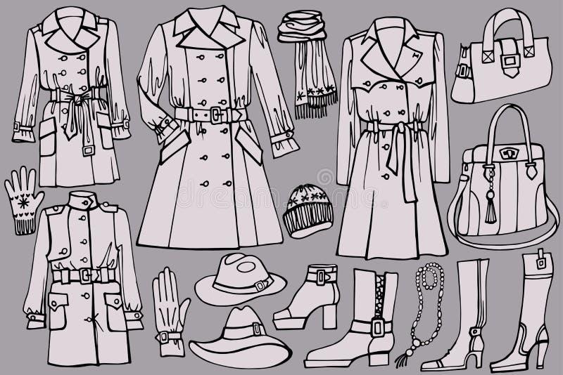Kobiet ubrania ustawiający Jesień, zima, wiosny odzież ilustracji