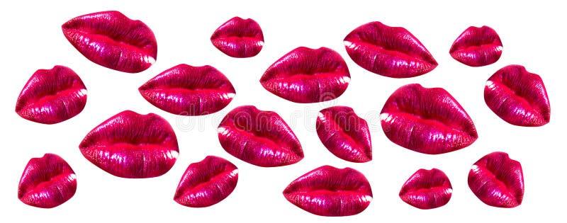 Kobiet wargi Ustawia? Dziewczyny usta zamknięty w górę czerwonego pomadki makeup z Usta z kosmetykami odizolowywającymi na białym obraz stock