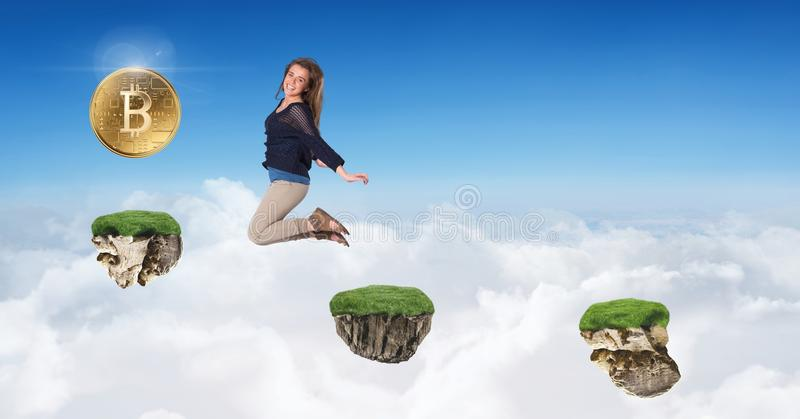 Kobiet zbieraccy bitcoins skacze na gemowych platformach w niebie obrazy stock