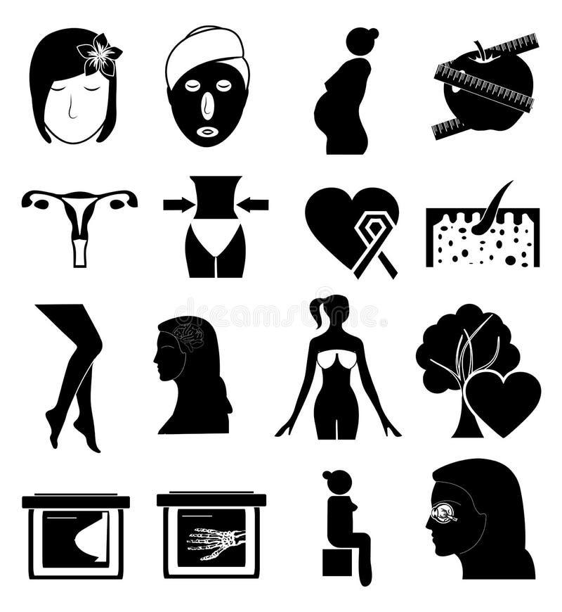 Kobiet zdrowie ikony ustawiać ilustracji