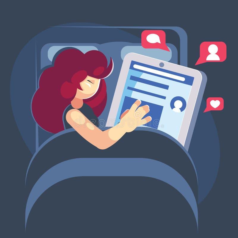 Kobieta śpi z jej smartphone w łóżku Internetowy smartphone lub ogólnospołeczny medialny nałogu pojęcie - wektorowa płaska kreskó ilustracji