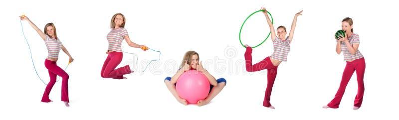 Kobieta ćwiczy kolaż obraz stock