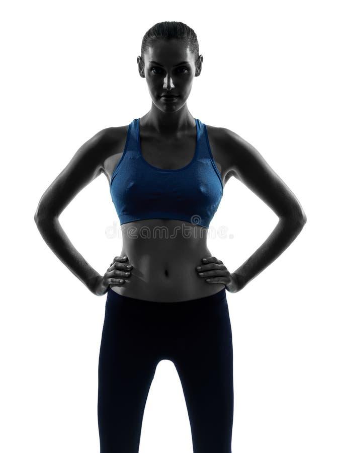 Kobieta ćwiczy sprawność fizyczna portreta sylwetkę zdjęcie royalty free