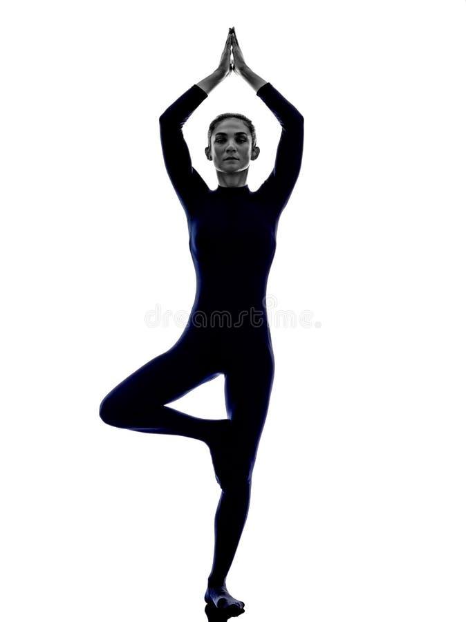 Kobieta ćwiczy Vrksasana pozy joga drzewną sylwetkę zdjęcie stock