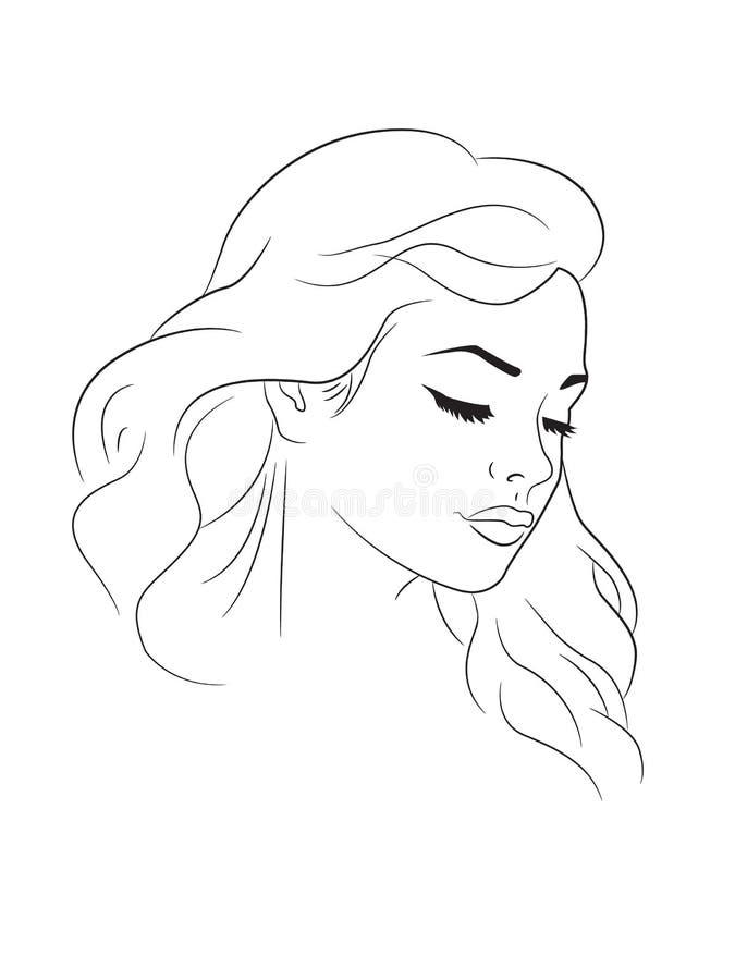 Kobieta ładny portret ilustracji