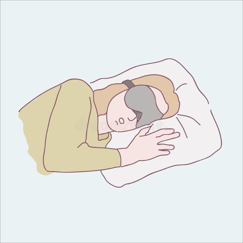 kobieta śpi dobrze ilustracji