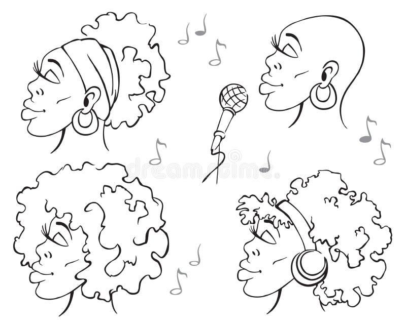 Kobieta afroamerykanina muzyka ilustracji