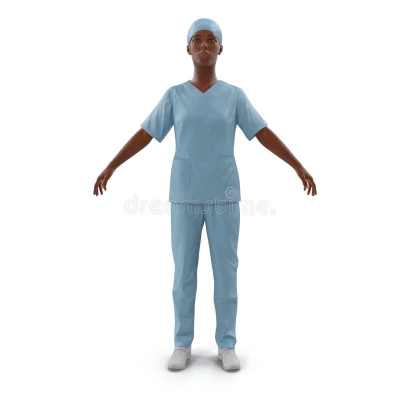 Kobieta amerykanina afrykańskiego pochodzenia chirurga pielęgniarka lub lekarka folowaliśmy długość portret odizolowywającego na  royalty ilustracja
