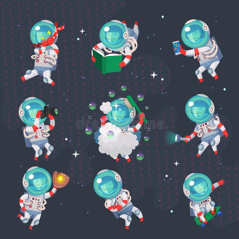 Kobieta astronauci w przestrzeni Różnorodni sporty i czas wolny aktywność w otwartej przestrzeni zdjęcia stock