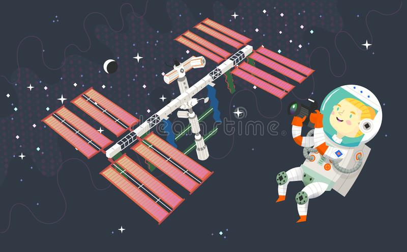 Kobieta astronauta w kosmosie bierze obrazki stacja kosmiczna księżyc i gwiazdozbiory, ilustracja wektor