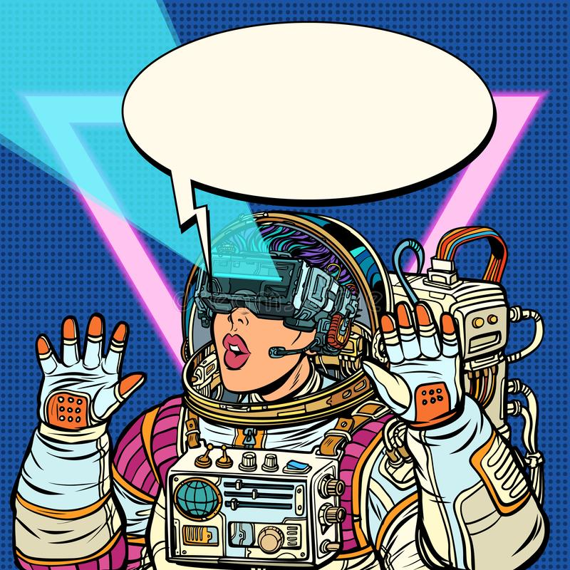 Kobieta astronauta w rzeczywistość wirtualna szkłach Dziewczyny 80s ilustracji