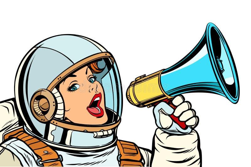 Kobieta astronauta z megafonem odizolowywa na białym tle ilustracji