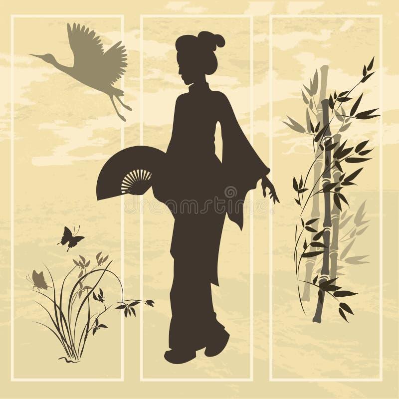 kobieta azjatykcia nad orientalnego obrazu stylu wodna płacząca wierzba royalty ilustracja