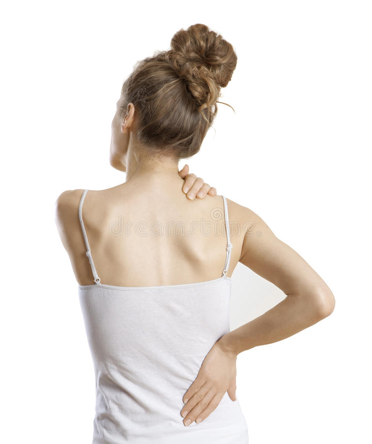 Kobieta ból pleców zdjęcia royalty free
