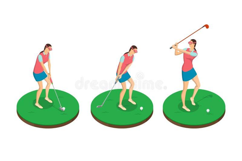 Kobieta bawić się golfa, wektoru 3d isometric ilustracja Golfowe huśtawek sceny, odosobneni projektów elementy royalty ilustracja