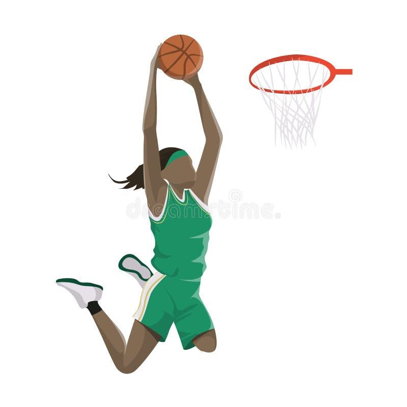 Kobieta bawić się koszykówkę ilustracja wektor