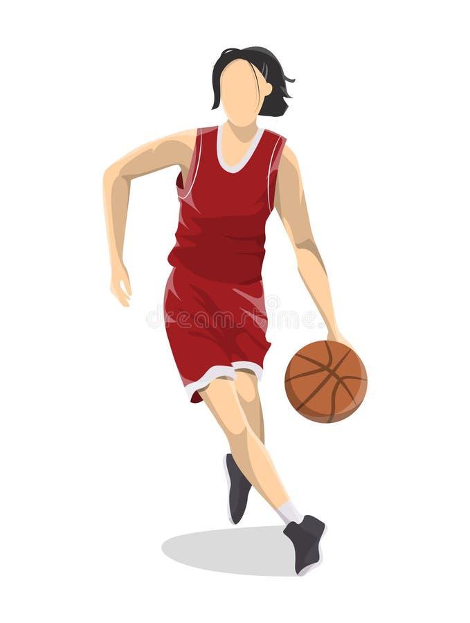 Kobieta bawić się koszykówkę ilustracji