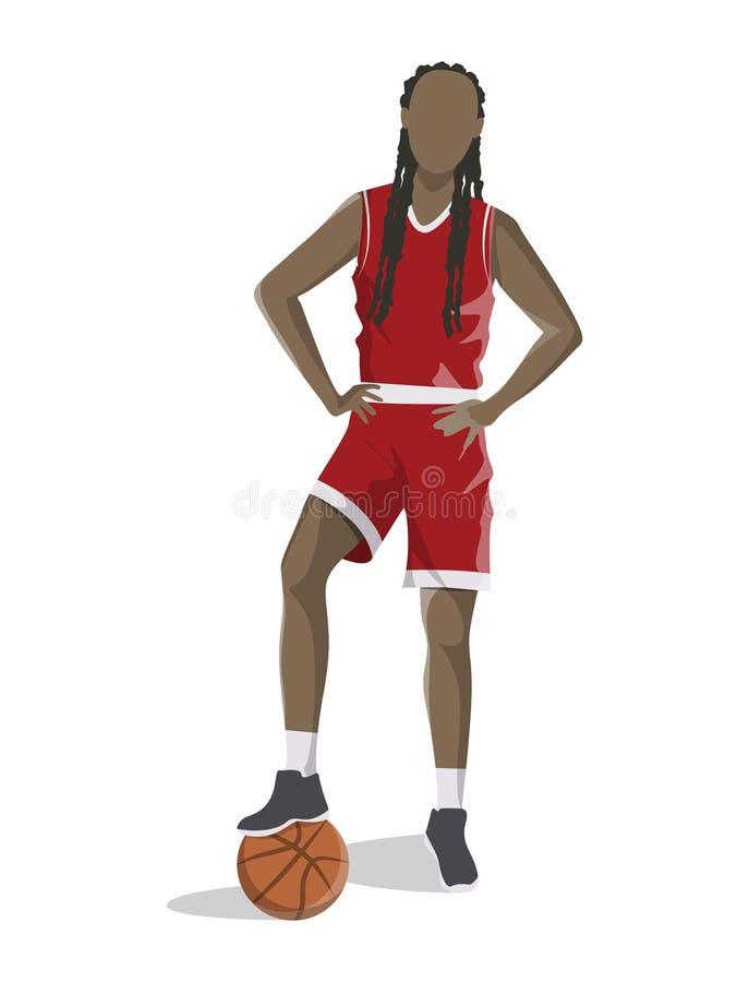 Kobieta bawić się koszykówkę royalty ilustracja