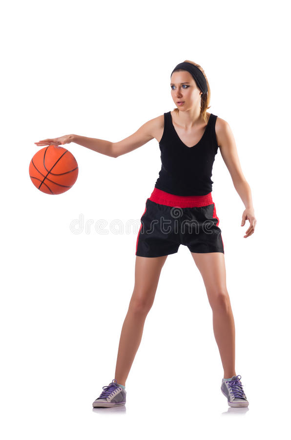 Kobieta bawić się koszykówkę odizolowywającą na bielu obraz royalty free