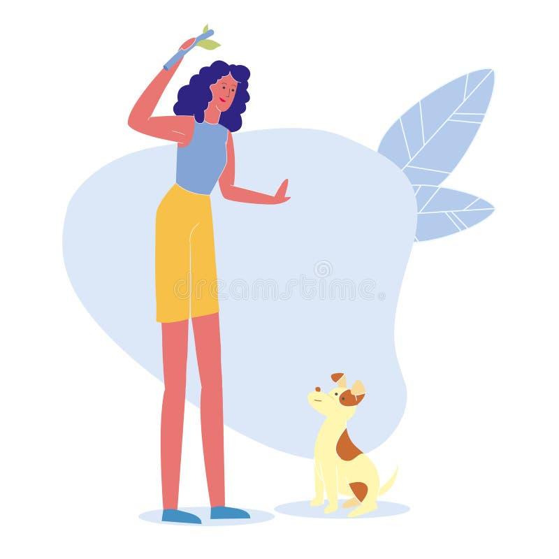 Kobieta Bawić się z szczeniaka Płaskim Wektorowym charakterem ilustracji