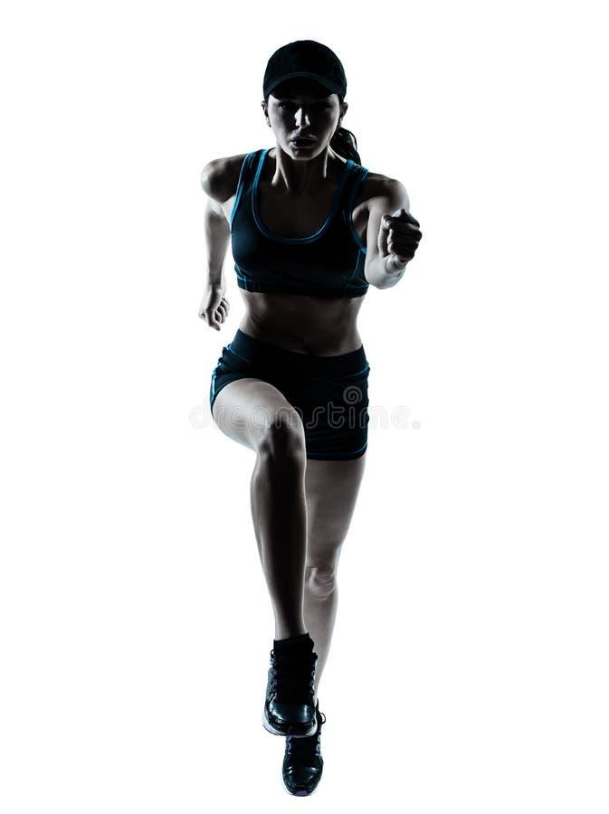 Kobieta biegacza jogger skokowa sylwetka obraz royalty free