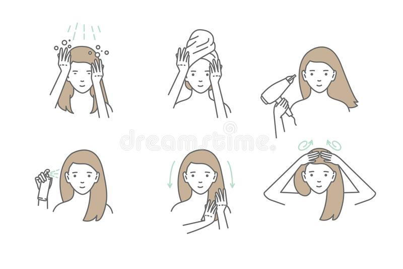Kobieta bierze opiekę o jej włosy Kroki dlaczego stosować włosy maskę royalty ilustracja