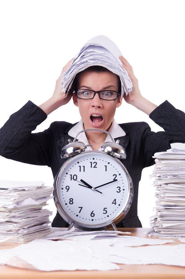 Kobieta bizneswoman pod stresu chybianiem obrazy stock