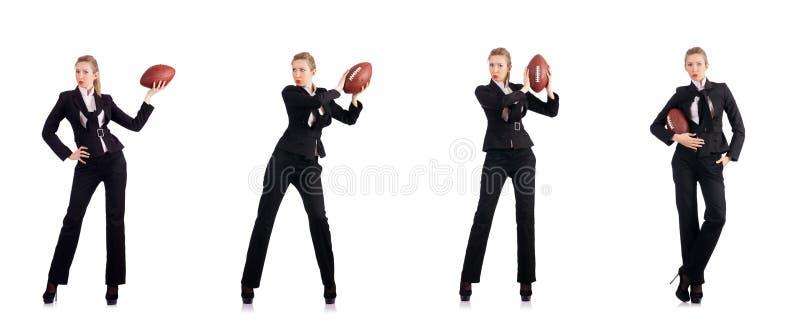 Kobieta bizneswoman z futbolem amerykańskim zdjęcia royalty free